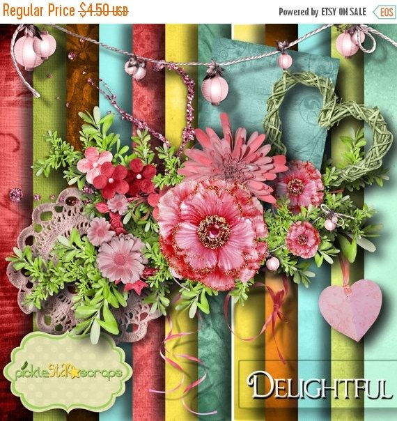 ON SALE Flower Scrapbooking Kit Floral by PickleStarScraps on Etsy