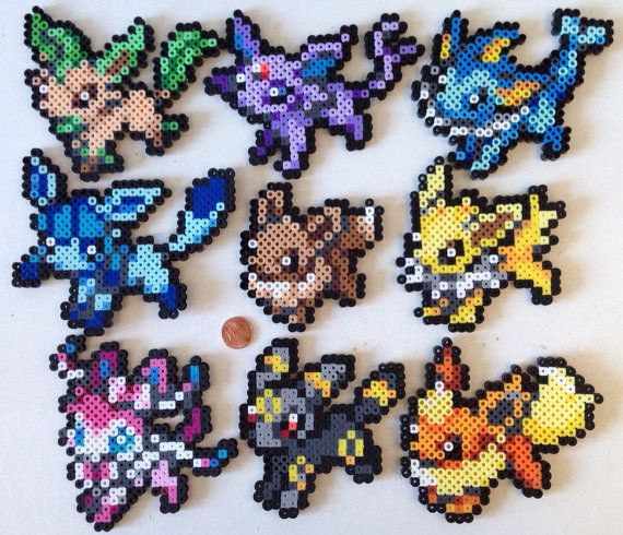 Eevee and Eeveelutions Perler Sprites by Toriroz on Etsy