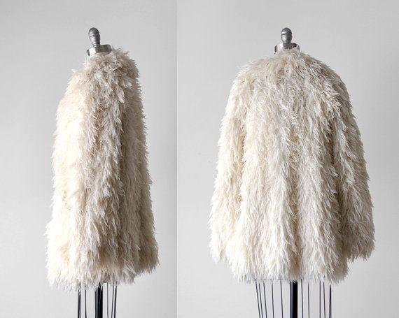 70's shag coat. 1970's white coat. boho jacket. by stickylipgloss