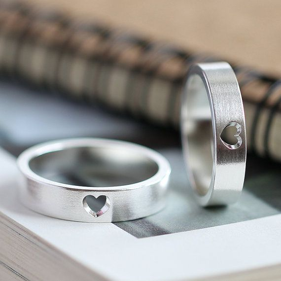 Matching Promise Rings, Personalized Couple Rings, Promise Rings For Couples, Couple Ring Set, His And Hers Promise Ring Sets, Heart Ring