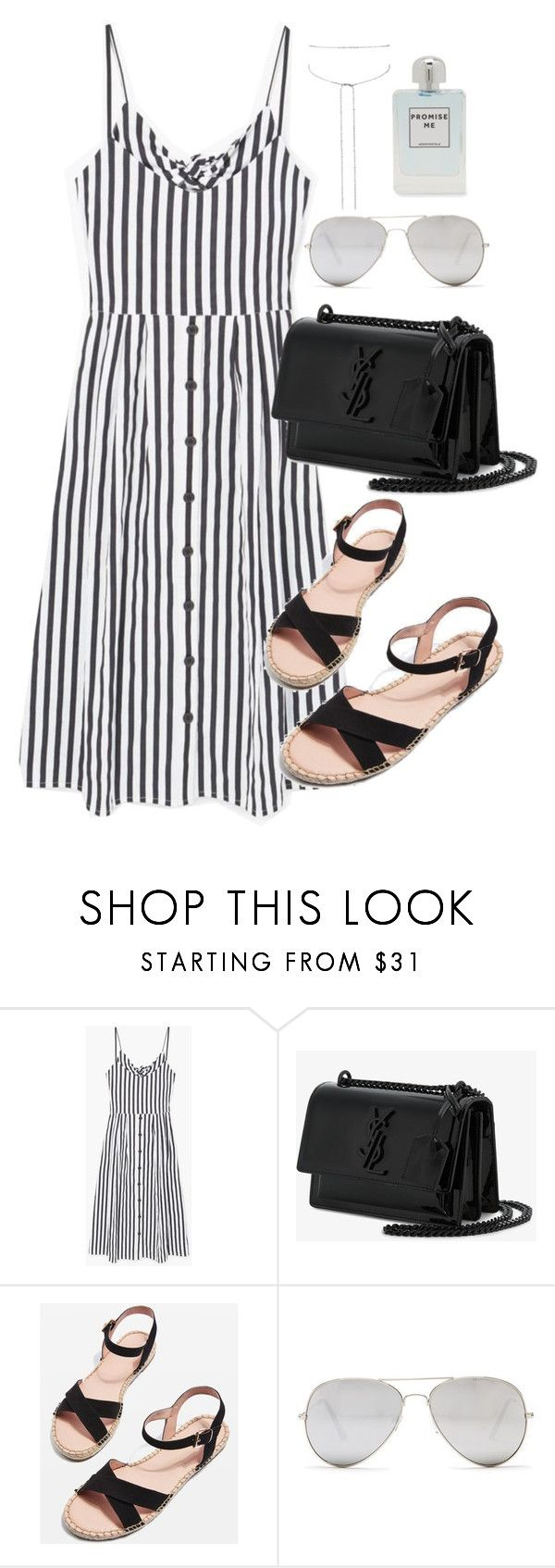 """""""Untitled #3683"""" by theaverageauburn ❤ liked on Polyvore featuring MANGO, Yves Saint Laurent, Topshop, Sunny Rebel and Aéropostale"""