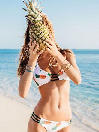 $20 Zaful White Two Piece Matching Summer Bikini Swimwear Swimsuit With Pineapple Fruit Print Embroidery