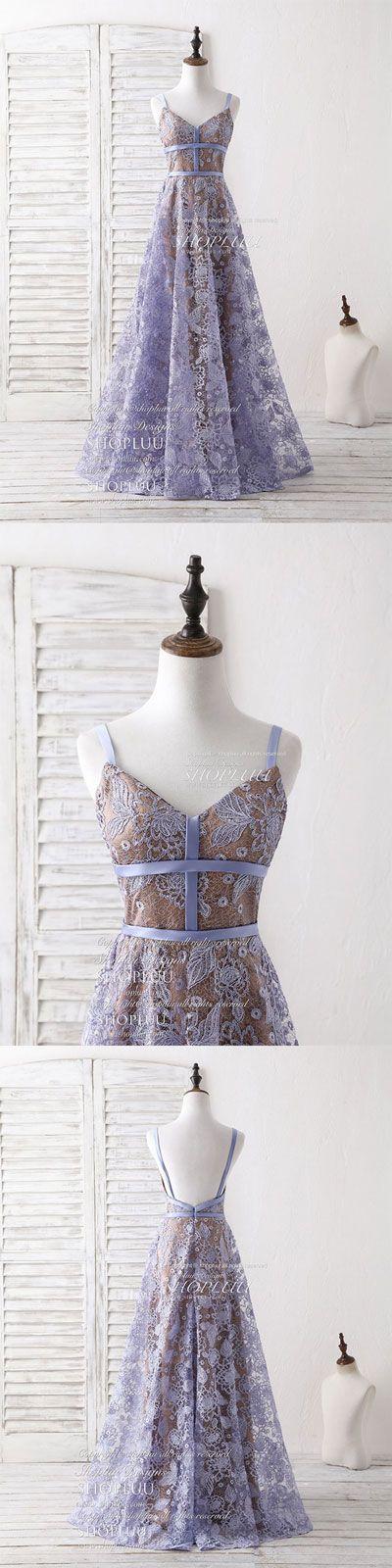 Unique v neck lace long prom dress purple lace evening dress, lace formal dress, sweet 16 dress