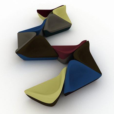 Seating Stones   by UNStudio - [These triangular sofas by Dutch architects UNStudio were inspired by geological formations.... Created for furniture manufacturers Walter Knoll, the seats tesselate to form clusters that break up communal spaces like lobbies and lounges.]
