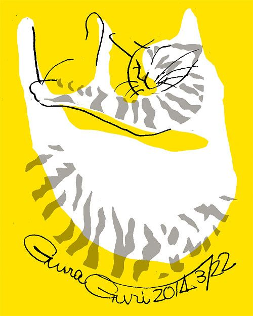 GuraGuri #007 It is the series of the illustration of the cat which Japanese illustrator Toshinori Mori drew. I try that I compose it of a simple line and color.
