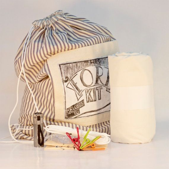 FORT KIT New Ivory XtraLg Twin Sheet Build a Fort Kit by JuBug