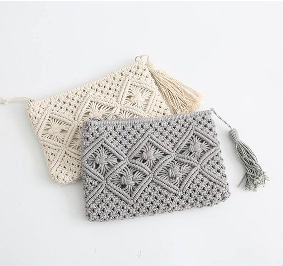 194343c43c574 Handmade macrame clutch bag - Boho macrame bag-cotton rope tassel bag width  10''x height 8
