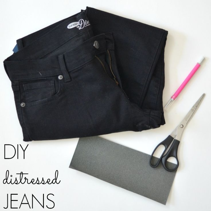 Easy DIY Distressed Black Jeans - Fizz and FrostingFizz and Frosting