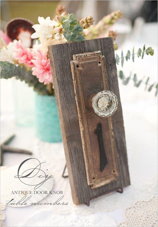 DIY Antique Doorknob Table Numbers & 75+ best Doors and Weddings images by Doors by Design on Pinterest ...