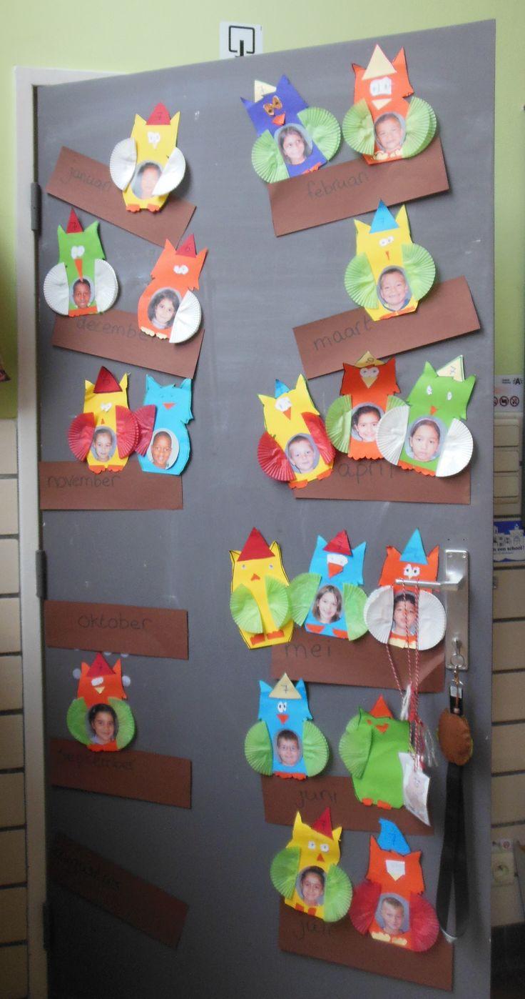 verjaardagskalender thema uil:) groep 3- 1e leerjaar