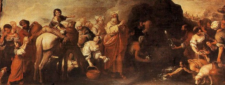 Moses and the Water from the Rock of Horeb - Bartolome Esteban Murillo.  1669-70.  Oil on canvas.  335 x 55 cm.  Hospital de la Caridad, Seville, Spain.