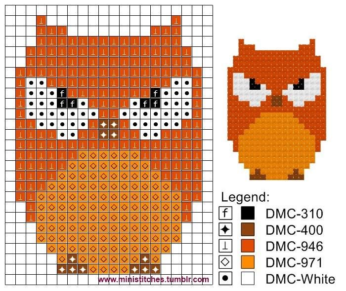 Owl pattern - perfect for perler beads or cross stitch (DMC embroidery floss colours are listed).
