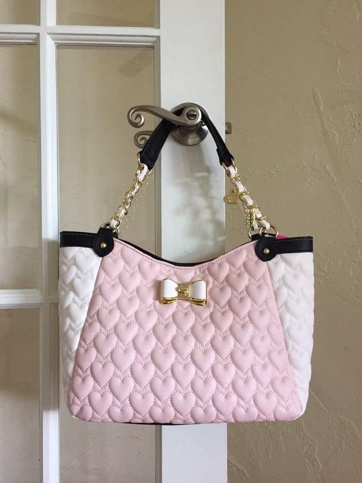 Betsey Johnson Be My Bow Satchel Blush Pink Cream Black BJ43925 $108 #BetseyJohnson #Satchel