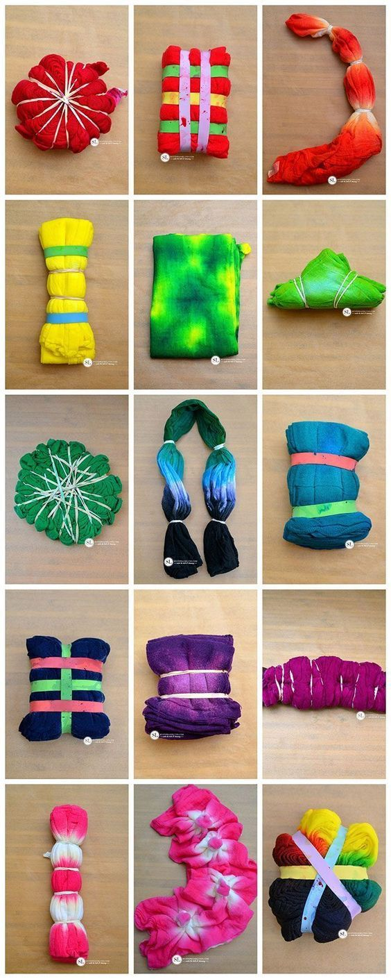 Dye Folding Techniques - 16 different ways to tie dye!: