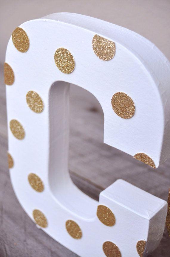 Gold Glitter Polka dot Letter by HOCDesignsMarket on Etsy