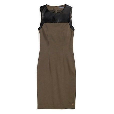 Tommy Hilfiger women's dress. With love, from Italy, comes one of the most flattering dresses in our collection. There are so many reasons to love it-the tailored structure, exposed zipper and chic leather panel along the chest. In a word-bellissima. <br>• Slim fit, approximately 37 inches from shoulder to hem.<br>• 69% viscose, 25% polyamide, 6% elastane, 100% leather panel. <br>• Back zip, princess seams, lined, Hilfiger micro plaque at hem.<br>• Dry clean ...