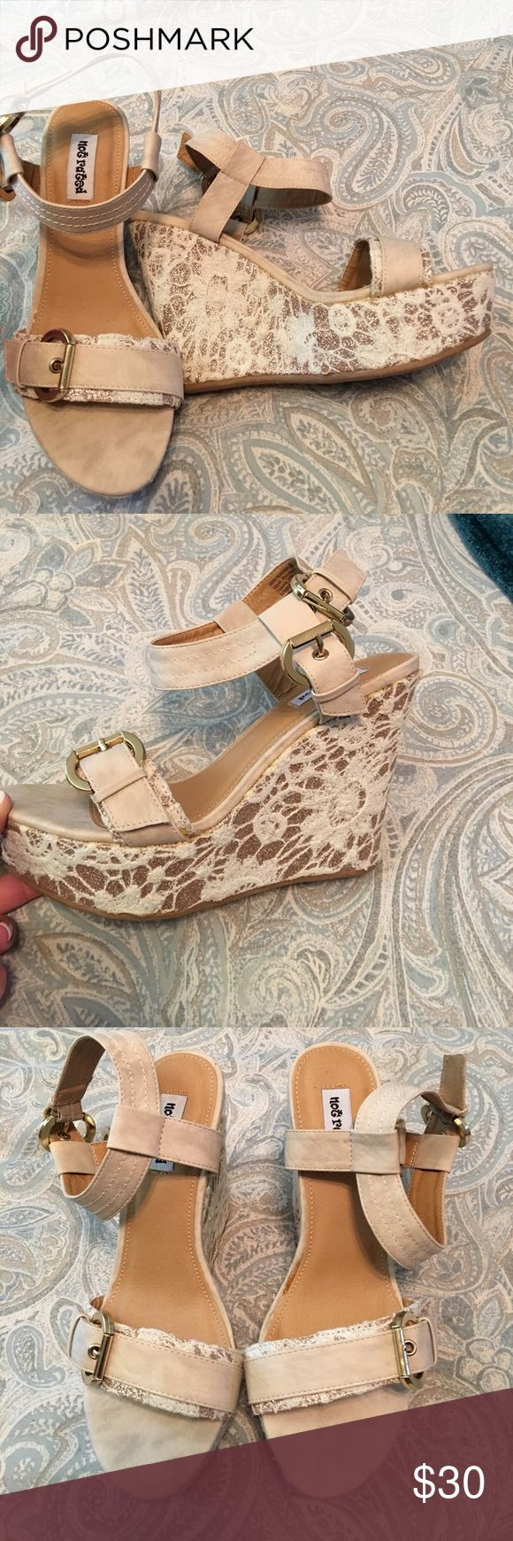 Not Rated Cream lace wedges Not Rated Cream lace wedges size 8 Not Rated Shoes Wedges