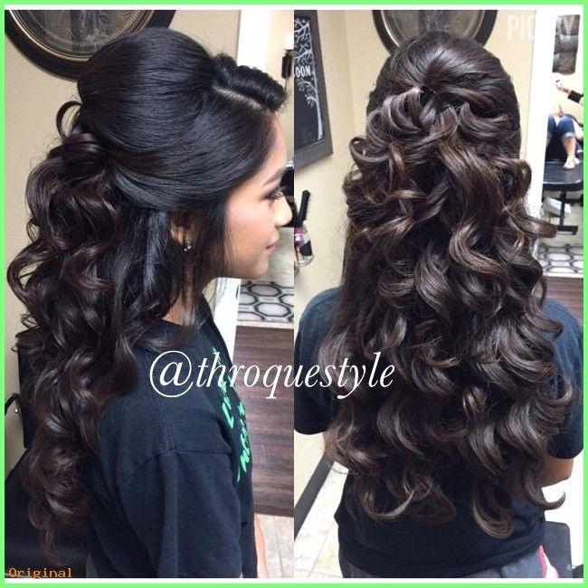 50+ Lange Haarmodelle – Halb hochsteckfrisur wellig Locken #HairWavyCurls #Frisurenfürlange…