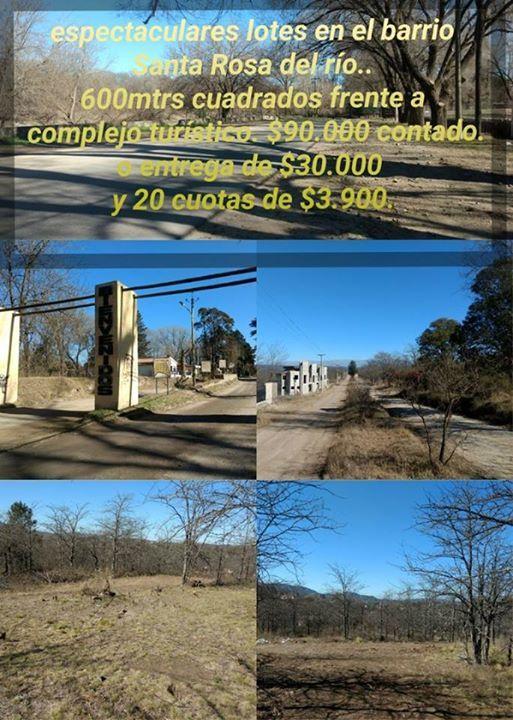 ATENCION!! ES IMPERDIBLE!!!  ESTA LIQUIDACION!!!! DOS CUADRAS DEL RIO!!  LOTEO EN SANTA ROSA DE CALAMUCHITA!!! ULTIMOS TRES ENTREGA $!!!!   ENTREGA $ 30000!!! Y 20 CUOTAS MENSUALES DESDE $ 3900!!!   ULTIMOS TRES LOTES!!!!   (GASTOS DE ESCRIBANIA A APARTE) ULTIMOS 3 LOTES A LA VENTA EN ESTE PRECIO!!! LOTEO ESPECTACULAR!!!! BUENA VISTA A LAS SIERRAS!!!  ESTAMOS LIQUIDANDO LOS ULTIMOS TRES DE ESTA MANZANA!!!             12 X 35 LOTES LLANOS, LIMPIOS, LISTOS PARA CONSTRUIR!! INMOBILIARIA GRUPO…