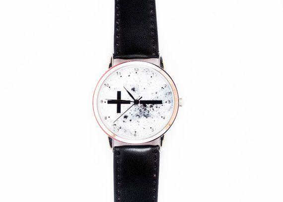 Минус&плюс-черный и белый наручные часы Минималистский наручные часы-уникальные наручные часы-женские часы-унисекс часы-кожаные часы-Бесплатная доставка