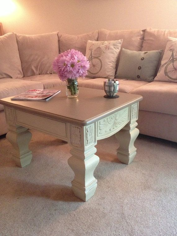 French Country Chalk Painted Coffee Table,  in Annie Sloan CoCo and Country Grey: distressed furniture, rustic, shabby chic furniture, painted furniture on Etsy, $145.00