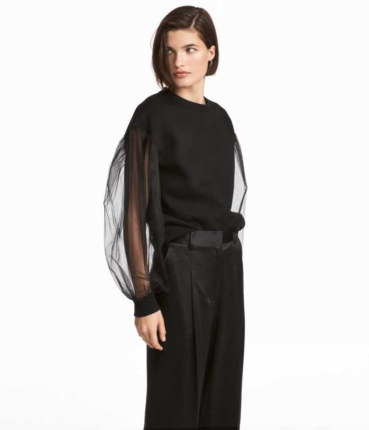 Black. Straight-cut sweatshirt with long balloon sleeves in tulle with ribbed cuffs. Soft, brushed inside.