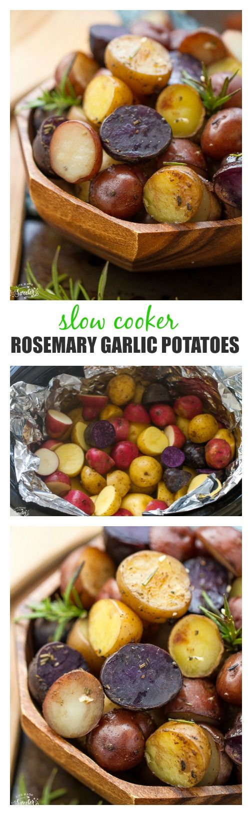 Tender and crisp tri-color potatoes loaded with rosemary, thyme, oregano, garlic and a sprinkle of parmesan. An easy and simple side dish made in the slow cooker.