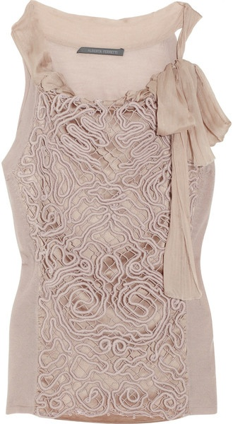 So Lovely...#ALBERTA #FERRETTI Patterned-overlay Silk Top