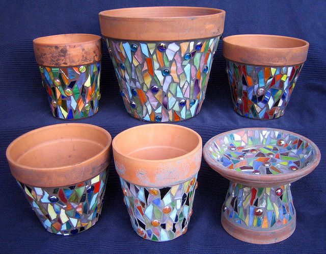 mosaic pots - a great idea for beginners!