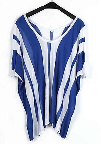 Blue And White Striped V Neck Bat Short Sleeve Loose Shirt