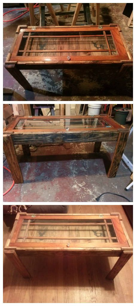 This coffee table was made from a pallet and a reclaimed window.     #PalletCoffeeTable, #RecycledPallet