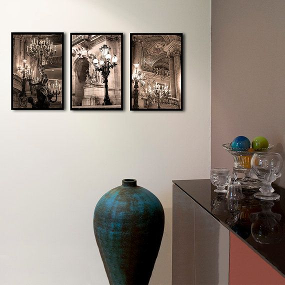 Opéra Garnier Paris Photography, set of 3 prints, large art in high resolution, paris bedroom decor, brown cream chandelier, gallery wall