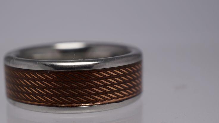 Mens Vitalium/Serinium Wedding Band with copper wire inlay