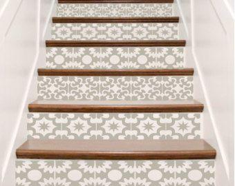 Treppe Fliese Aufkleberbogen - Hacienda spanischen Stil Treppe Aufkleber Dekor - Ihre Wahl von Farben, Designs und Menge - Treppe Riser Idee