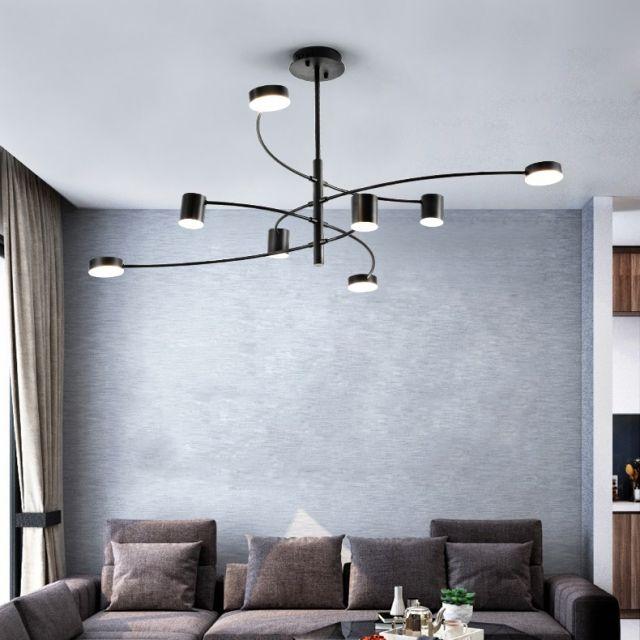 Post Modern Chic Design Benched 4/6/8 Large LED Chandelier in Black Finish