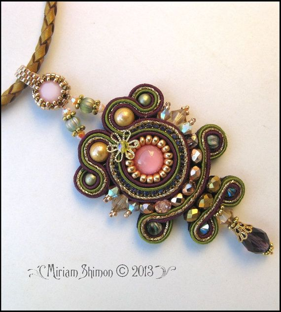 Soutache pendant necklace in Pink, Olive, Gold and Burgundy