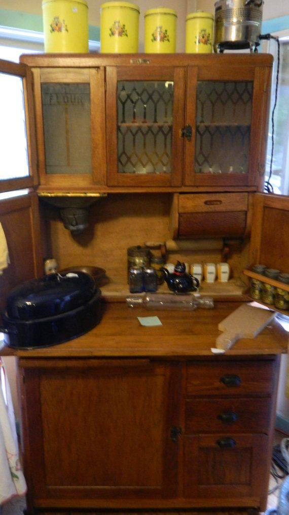 1910 Nappanee Oak Hoosier Cabinet rare early by TheHoosierman - 369 Best Vintage Hoosier Cabinets Images On Pinterest Vintage
