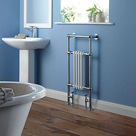 "Amazon.com: Hudson Reed Chrome & White Traditional Hydronic Towel Warmer Radiator Rail Heated Rack - 18.3"" x 36.8"" - Angled Valves Included: Bedding & Bath"