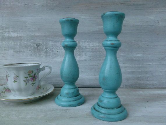 Upcycled Turquoise Painted Candlesticks by BeckiBees on Etsy