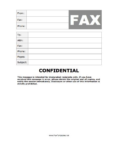 When confidentiality is paramount, use this fax template, as it contains the message that it is intended for designated recipients only. Free to download and print