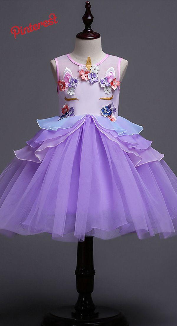 2018 Nova Crianças Unicórnio Traje Cosplay Princesa Vestido