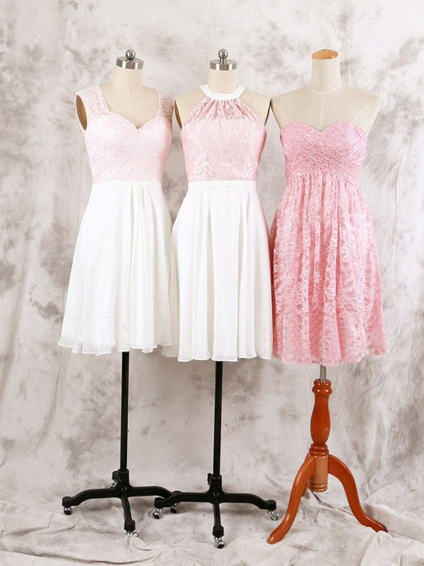 Short Bridesmaid Dress, lace bridesmaid dress, mismatched bridesmaid dresses, pink bridesmaid dress, cheap bridesmaid dress, bridesmaid dress for girls,different style bridesmaid dress,country style bridesmaid dressPD00116
