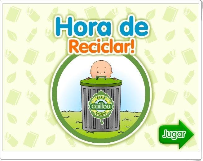 """""""Caillou. Hora de reciclar"""" es un juego en el que Caillou nos invita a separar los residuos en sus contenedores y ayudar así a reciclar. Buen juego para celebrar el Día Mundial del Medio Ambiente el 5 de junio."""
