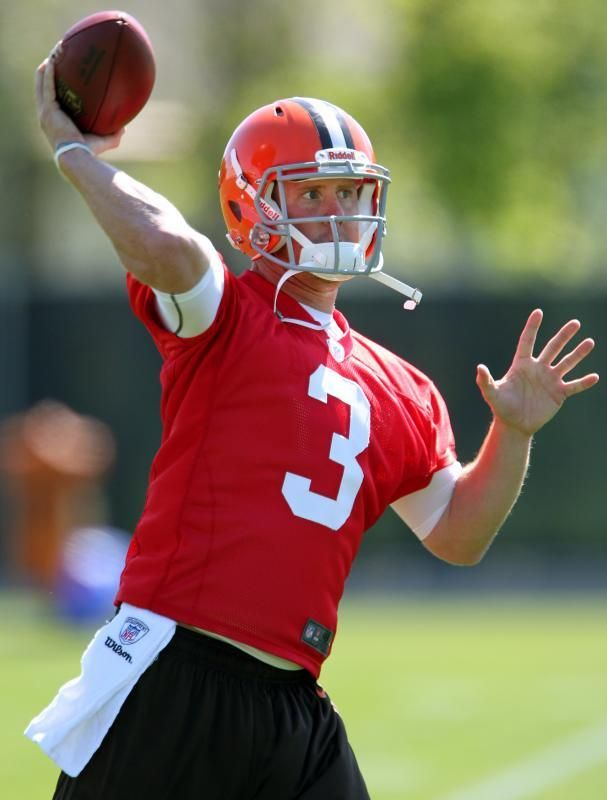Cleveland Browns rookie quarterback Brandon Weeden throws a pass during the first day of rookie training camp May 11, 2012 at the Browns facility in Berea. (John Kuntz / The Plain Dealer)