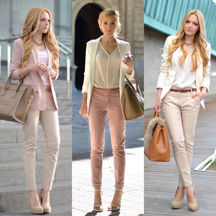 """pastel and cropped pants"" is good for career woman"