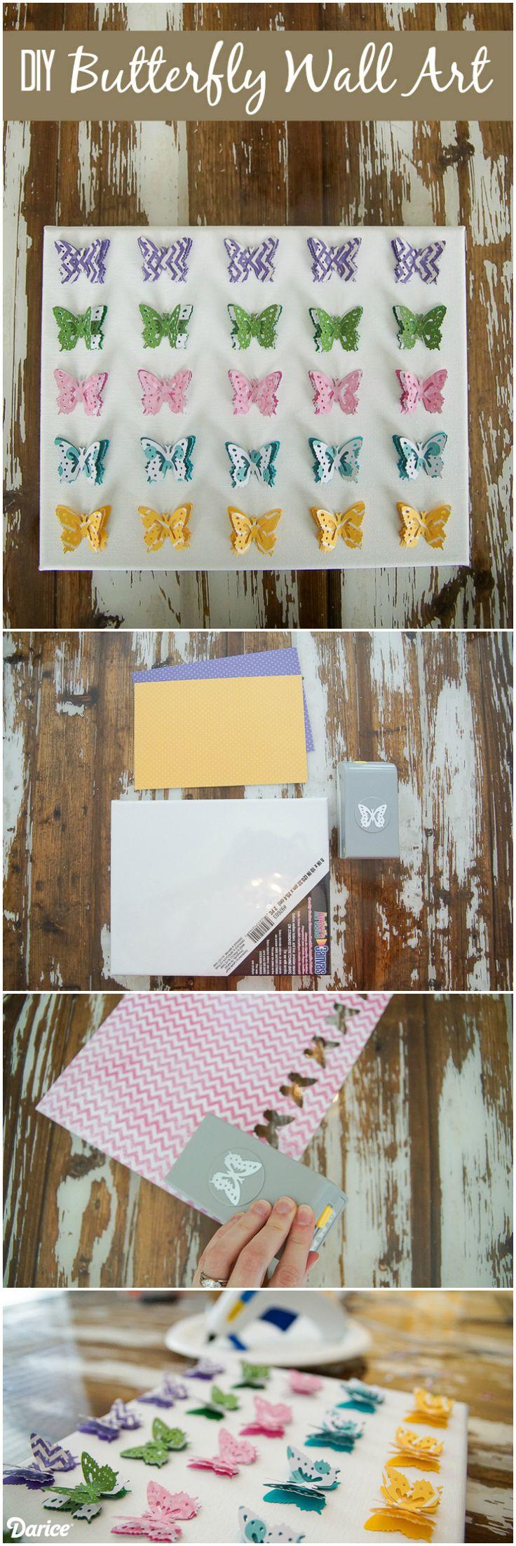 Scrapbook paper art projects - Diy Butterfly Wall Art Project Darice