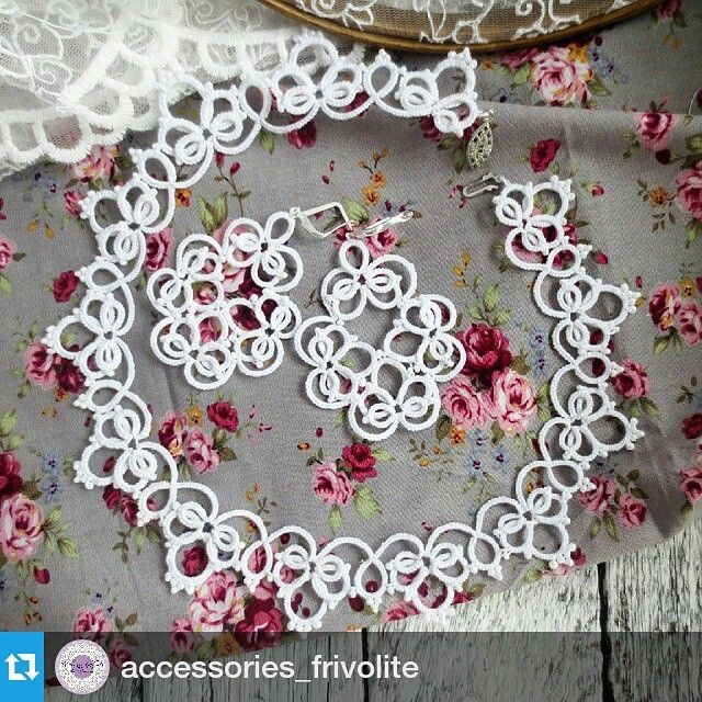 「#Repost @accessories_frivolite ・・・ Комплект свадебных украшений Bell. Выполнено из 100% хлопка. В работе использован чешский бисер. Длина серёжек со…」