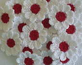 Crochet Sunflowers, Daisies, Small  Appliques, Embellishments - set of 16. $8.50, via Etsy.