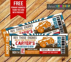 Monster Truck Ticket Invitation Printable FREE by SweetGumdrop