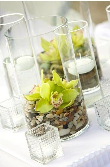 Table Decorations Stones Flower And Just A Little Water